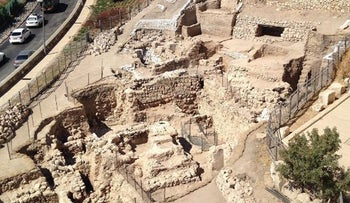 A bird's eye view of the Mt. Zion excavation, as seen from the walls of the Old City of Jerusalem, July 2016.