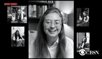Old photos of Hillary Clinton as seen in a video aired at the Democratic National Convention in Philadelphia on Thursday, July 28, 2016.