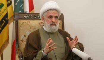 Lebanon's Hezbollah deputy leader Sheikh Naim Qassem gestures as he speaks during an interview with Reuters at his office in Beirut's suburbs, Lebanon August 3, 2016.