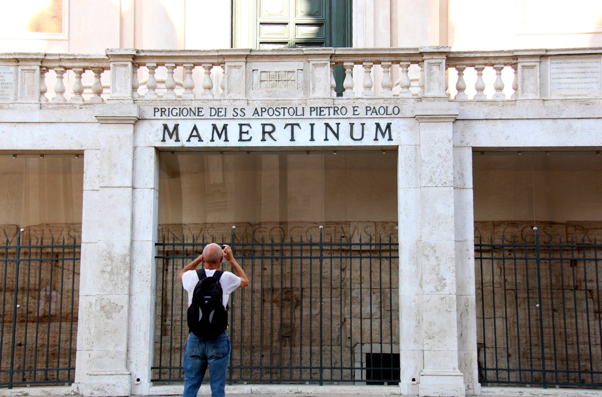 The entrance to the site, which was known as the Mamertine prison during the Middle Ages.