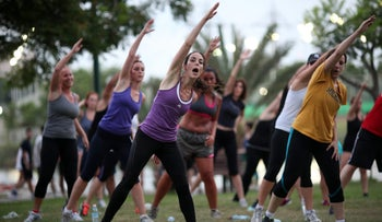 Rella Itin leads her fitness-ready troops in a high-energy boot camp class.