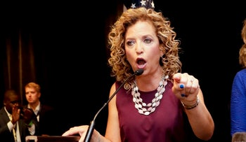 DNC Chairwoman Debbie Wasserman Schultz, D-Fla. speaks during a Florida delegation breakfast, Philadelphia, U.S., July 25, 2016.