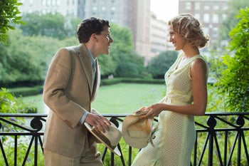 In this image released by Lionsgate, Jesse Eisenberg and Blake Lively appear in a scene from 'Cafe Society.'