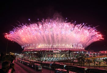 Fireworks explode over the Maracana stadium during the opening ceremony of the Rio 2016 Olympic Games in Rio de Janeiro, Brazil, August 5, 2016.