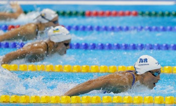 Israel's Amit Ivry competes in a heat of the women's 100m butterfly during the swimming competitions at the 2016 Summer Olympics, Saturday, Aug. 6, 2016, in Rio de Janeiro, Brazil.