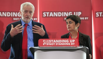 Jeremy Corbyn and Shami Chakrabarti, the independent lawyer who conducted an inquiry into anti-Semitism in the Labour party, present findings at a press conference in London, U.K., 30 June, 2016.