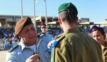 Israel's military chief Gadi Eisenkot at an officer cadet course ceremony, 2015.