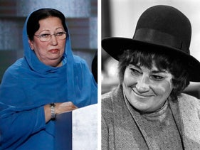 A photo montage of Ghazala Khan (left), mother of fallen U.S. army Captain Humayum Khan, and Bella Abzug (right), former U.S. congresswoman and Jewish feminist pioneer.
