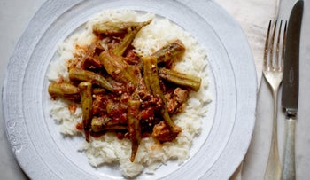 Middle-Eastern okra with tomato and optional lamb, a simple summertime dish.