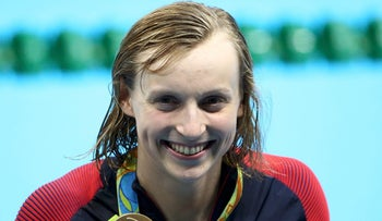 Katie Ledecky (USA) with her gold medal at women's 400m freestyle victory ceremony in Rio de Janeiro, Brazil 07/08/2016.