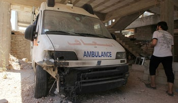 A file photo of a damaged ambulance after an airsrike in the rebel-held city of Anadan, northern Aleppo province, Syria, July 31, 2016.