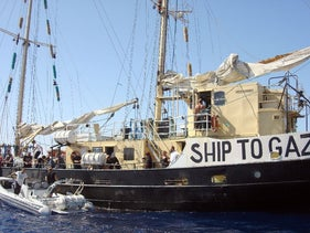 The ship before it set sail for Gaza and was impounded by the Israeli navy.