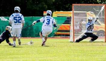 Israel's Eric Fischer saving a shot by Germany during the lacrosse quarterfinal in Budapest, August 3, 2016. He played phenomenally well in-between the pipes, saving four shots on goal.
