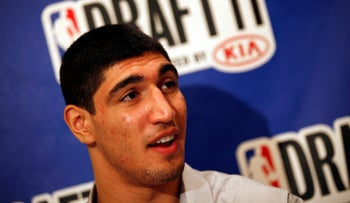 NBA player Enes Kanter at a media availability in 2011.