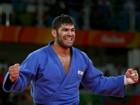 Or Sasson (ISR) of Israel celebrates winning the bronze medal.