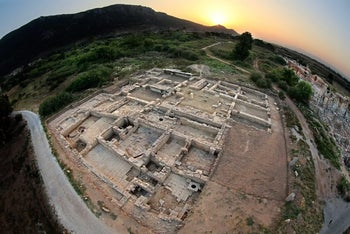 A bird's eye view of the excavation of Byzantine houses, at ancient Ephesus.