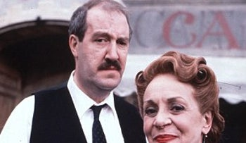 Publicity picture of two main characters of BBC's old TV series, Allo, Allo.