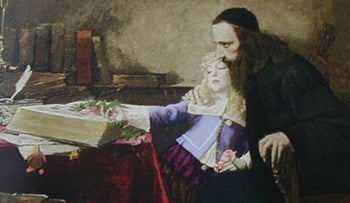 A painting of Uriel da Costa instructing the young Spinoza, Samuel Hirszenberg, 1901 (Louvre)