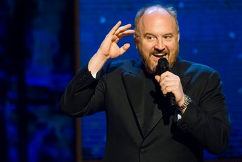 """Louis C.K. appears onstage at Comedy Central's """"Night of Too Many Stars: America Comes Together for Autism Programs"""" at the Beacon Theatre on Saturday, Feb. 28, 2015 in New York."""