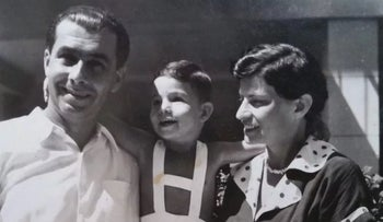 Gideon Levy with his parents in Tel Aviv, Israel, 1955.