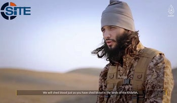 Foued Mohammed-Aggad, a Frenchman who was among the ISIS fighters to attack Paris on November 13, 2015, appears in an undated propaganda video.