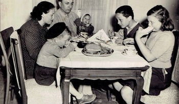 The Kupfer family in 1947. Shoshana, whose twin brother disappeared, is being held by her father.