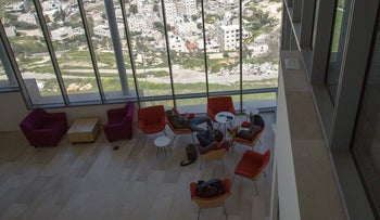 Students at the Jewish Studies building of Hebrew University, March 31, 2016.