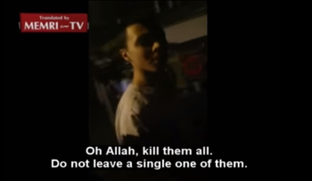 Frame from video of Muslim teen calling for killing Christians in Belgium
