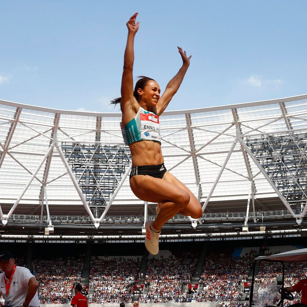 Britain's Jessica Ennis-Hill in the long jump at the 2016 London Anniversary Games, July 23, 2016.