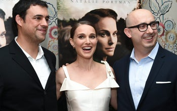 Focus World's Anjay Nagpal, left, Natalie Portman, and Focus Features Chairman Peter Kujawski attend the premiere of 'A Tale of Love & Darkness,' New York, August 15, 2016.