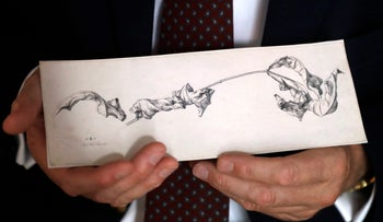 Dr. Johann Schiller holds a replica of a nearly 200-year-old drawing, Wednesday, Aug. 17, 2016, in Washington.