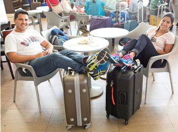 Leandro Riveiro, 32, and Priscilla Riveiro, 34, live in Sao Paulo, and flying there.