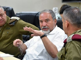 Defense Minister Avigdor Lieberman with generals, summer 2016.