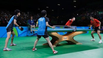 Japan and China battle for the table-tennis gold at the Rio Olympics, August 18, 2016.
