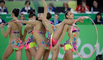 Team Israel performs during the rhythmic gymnastics group all-around final at the 2016 Summer Olympics in Rio de Janeiro, Brazil, August 21, 2016.