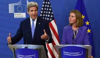 U.S. Secretary of State John Kerry (L) and EU foreign policy chief Federica Mogherini hold a joint press conference in Brussels, June 27, 2016.