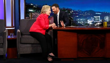 Democratic presidential nominee Hillary Clinton tapes an appearance on the Jimmy Kimmel Show in Los Angeles, August 22, 2016.