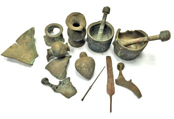 The ancient finds that were retrieved from the sea and turned over to the Israel Antiquities Authority
