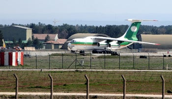 An Iranian cargo plane is seen at Diyarbakir airport, Turkey, March 16, 2010.