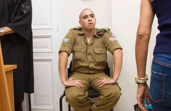 Soldier Elor Azaria attends his trial at the Jaffa Military Court, Israel, August 28, 2016.