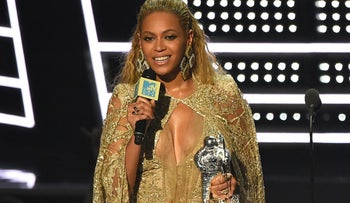 Beyonce accepts the award for best female video for 'Hold Up' at the MTV Video Music Awards at Madison Square Garden, New York, U.S., 28, 2016.