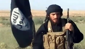 The spokesman for ISIS, Abu Mohammad al-Adnani al-Shami, in an image grab taken from a video uploaded on YouTube on July 8, 2012.
