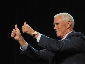 GOP Vice Presidential candidate, Indiana Governor Mike Pence greets the crowd at a rally at the Iowa Events Center in Des Moines, Iowa on Friday August, 5, 2016.