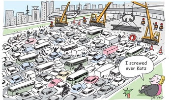 "An illustration showing a gridlocked road and halted railway infrastructure works, with Netanyahu watching and saying ""I screwed Katz over."""