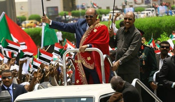 Sudan's President Omar al-Bashir during a rally against the International Criminal Court at Khartoum Airport, July 30, 2016.