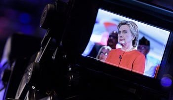 Democratic presidential nominee Hillary Clinton is seen on a TV camera's viewfinder. September 7, 2016.