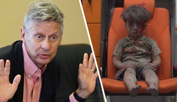 Libertarian presidential candidate, former New Mexico Gov. Gary Johnson on May 18, 2016, and a child an ambulance airstrikes in Aleppo, Syria, August 17, 2016.
