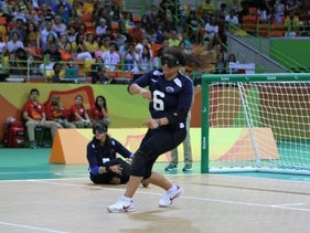 Israel's goalball team during a match against Japan, September 10, 2016.