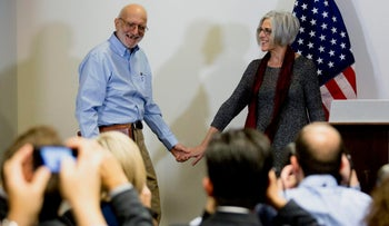 American aid worker Alan Gross and his wife Judy at a news conference in December 2014, after his release by Cuba.