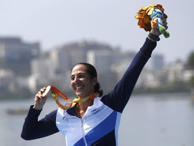 2016 Rio Paralympics - Rowing- Victory Ceremony - AS Women's Single Scull ASW1X Victory Ceremony - Lagoa Stadium - Rio de Janeiro, Brazil - 11/09/2016. Bronze medalist Moran Samuel of Israel poses with her medal.
